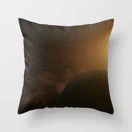 Planet surrounded by asteroids. Outer Space, Cosmic Art and Science Fiction Concept. Throw Pillow