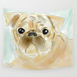 Pug face brown Wall Tapestry