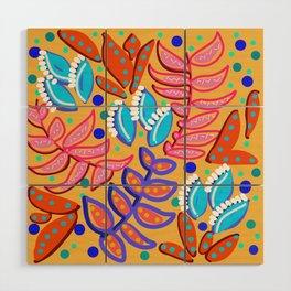 Whimsical Leaves Pattern Wood Wall Art