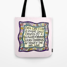 Quilt Quote Pink Tote Bag