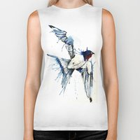 swallow Biker Tanks featuring My Swallow by Meg Ashford