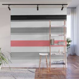 Watercolor striped pattern in black and grey , white and pink colors . Wall Mural