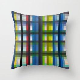 colorful striking retro grid pattern Nis Throw Pillow