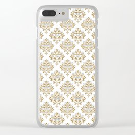 Crafted Damask Inspired Gold Pattern with Blue Accents Clear iPhone Case