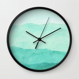 Ombre Waves in Teal Wall Clock