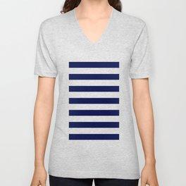 navy stripes Unisex V-Neck
