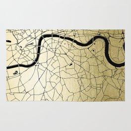 London Gold on Black Street Map Rug