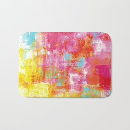 OFF THE GRID 2 Colorful Pink Pastel Neon Abstract Watercolor Acrylic Textural Art Painting Rainbow Bath Mat