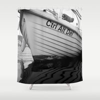 boat Shower Curtains featuring boat by habish