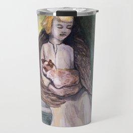 Angel with cat watercolor Travel Mug