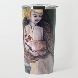 Angel with cat watercolor Travel Mug