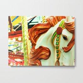 Green Carousel Horse Metal Print