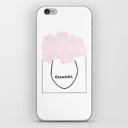 shopping bag with pink flowers iPhone Skin