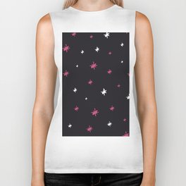 Hand painted black pink white modern abstract stars Biker Tank