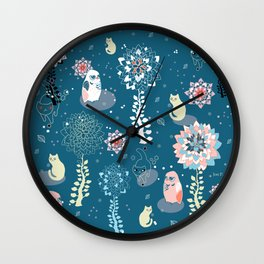 baby animals' reunion Wall Clock