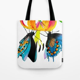 Butterflies & Lily Tote Bag