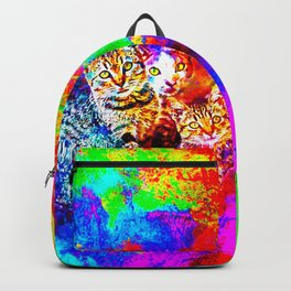 cat trio splatter watercolor colorful background Backpack