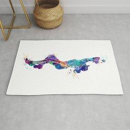 Girl Baseball Player Softball Fielder Colorful Watercolor Art Rug