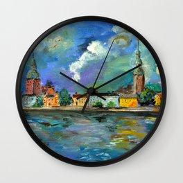 A Night of Color in Riga Wall Clock