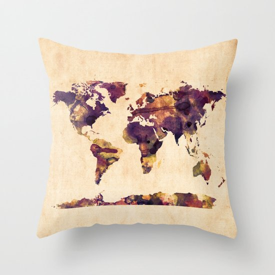 Throw Pillows With World Map : World Map Watercolor Throw Pillow by ArtPause Society6