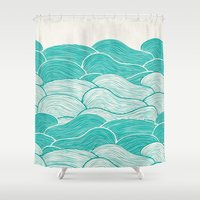 calm Shower Curtains featuring The Calm and Stormy Seas by Pom Graphic Design