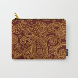 Oriental Persian Paisley, Swirls - Red Yellow Carry-All Pouch