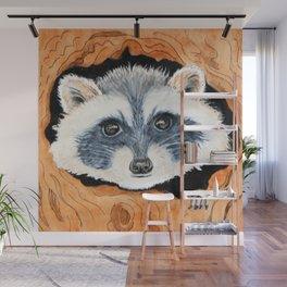 Raccoon Hideaway Wall Mural