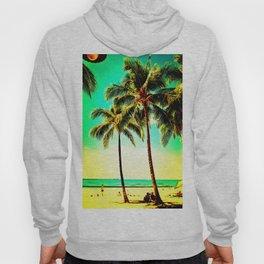 Normal Green Yellow Vintage Palm Tree with Hawaii Summer Sea Beach Hoody