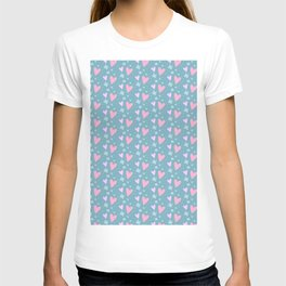 Abstract pink turquoise romantic hearts floral pattern T-shirt