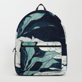 JAPANESE FLOWERS Midnight Blue Teal Backpack