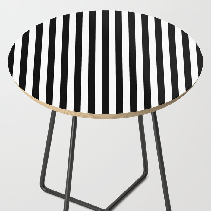 Stripe Black & White Vertical Side Table