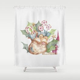 Christmas Gift Bag & Sweets Shower Curtain