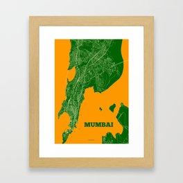 Mumbai Streets Map Framed Art Print