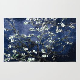 Vincent Van Gogh Almond Blossoms Dark Blue Rug