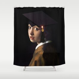 Girl with the Grad Cap Shower Curtain