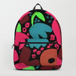 Bold Abstract Floral Inspired Pattern (Red, Orange, Honeysuckle Pink, Blue, Green) Backpack