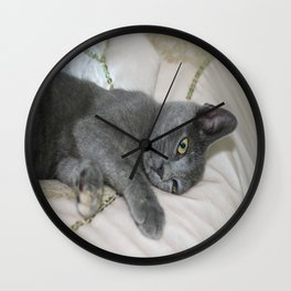 Grey Kitten Relaxed On A Bed  Wall Clock