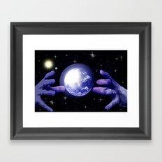 In good hands. Framed Art Print