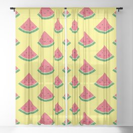 Cute Watermelon Pattern (Yellow) Sheer Curtain
