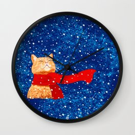 Tabby loves Snow... Wall Clock