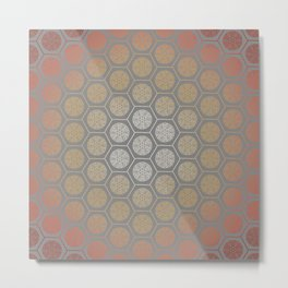 Hexagonal Dreams - Orange Gradient Metal Print