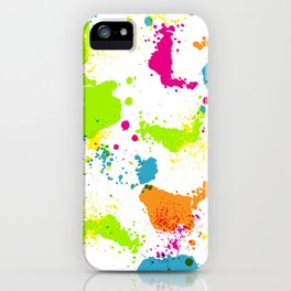 colorful paint blots iPhone Case