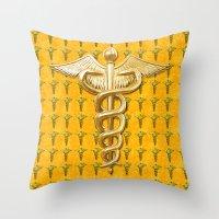 medical Throw Pillows featuring Gold Medical Caduceus by MacDonald Creative Studios