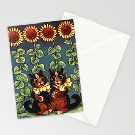 Cats & Sunflowers - Louis Wain Cats Stationery Cards