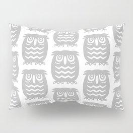 Mid Century Owl Pattern Grey Pillow Sham