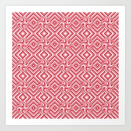 Candy Cane Swirls in Red Art Print