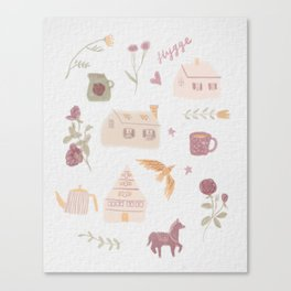 Hygge Floral and House Watercolor Canvas Print