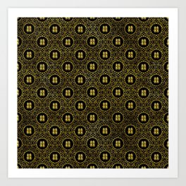 Gold Double Happiness Symbol in lotus pattern Art Print