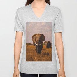 Elephant Safari (Color) Unisex V-Neck