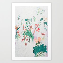 Abstract Jungle Floral on Pink and White Art Print